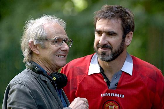 Ken Loach och Eric Cantona under inspelningen av Looking for Eric.