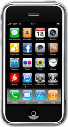 Startskärmen på min iPhone. Klicka för att förstora bilden.