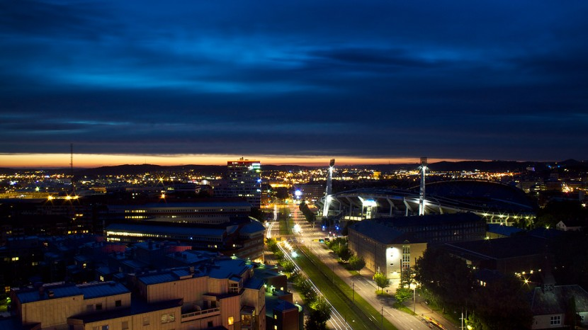 Utsikten på natten från vårt hotellrum var minst sagt läcker.