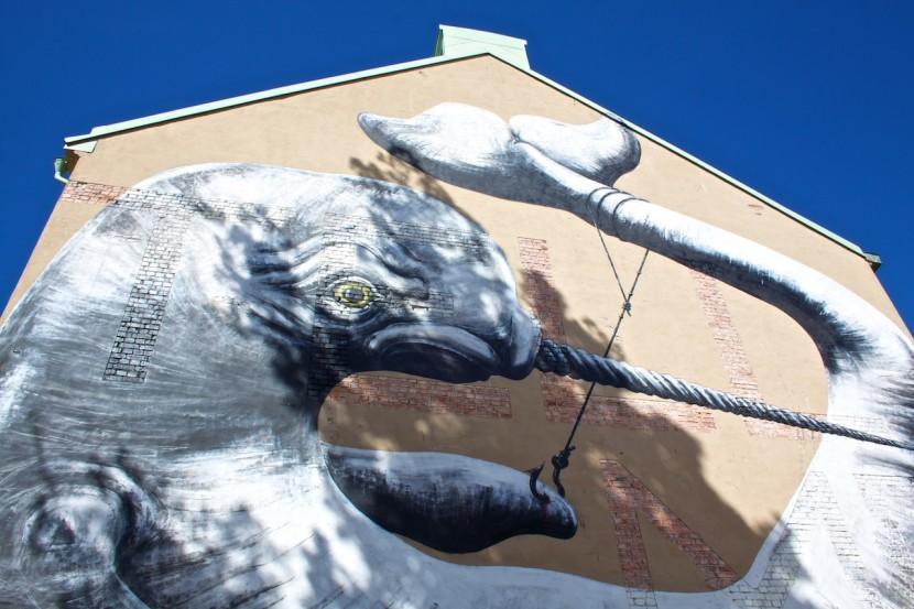 """Fantastiska """"Catch of the Day"""" av belgiska konstnären ROA."""