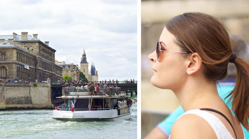 Tove och jag njöt av båtfärden på Seine.