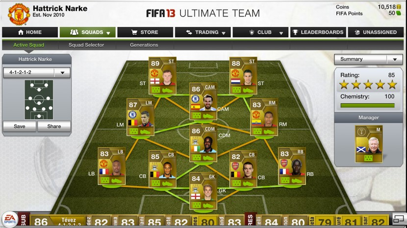 Min trupp i FIFA Ultimate Team 13.