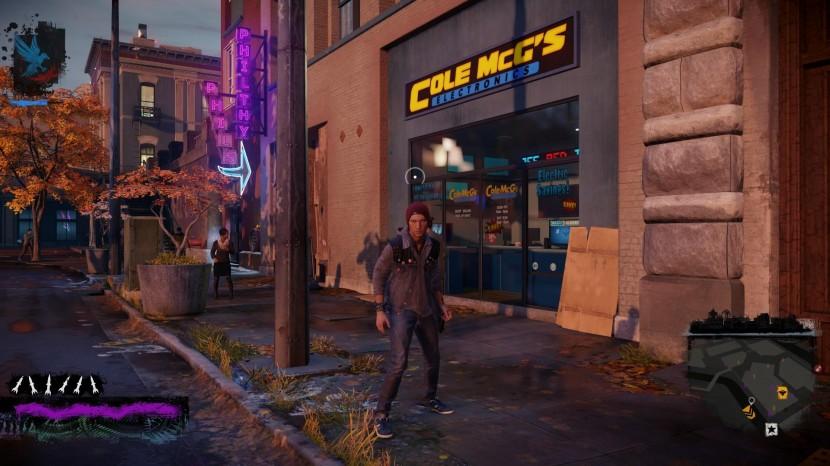 Blinkningar till de två första spelens protagonist Cole McGrath finns det på sina ställen i Seattle.