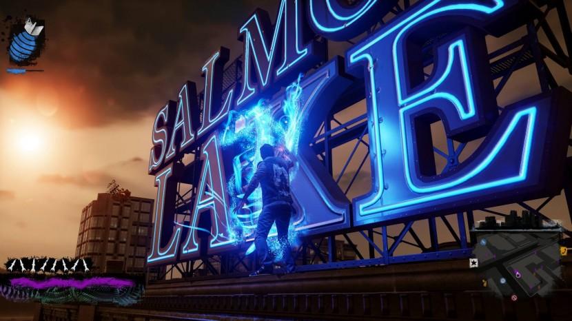 När krafterna börjar sina så blir man tvungen att leta upp en kraftkälla, som i detta fall en enorm neonskylt, för att fylla på sina krafter.