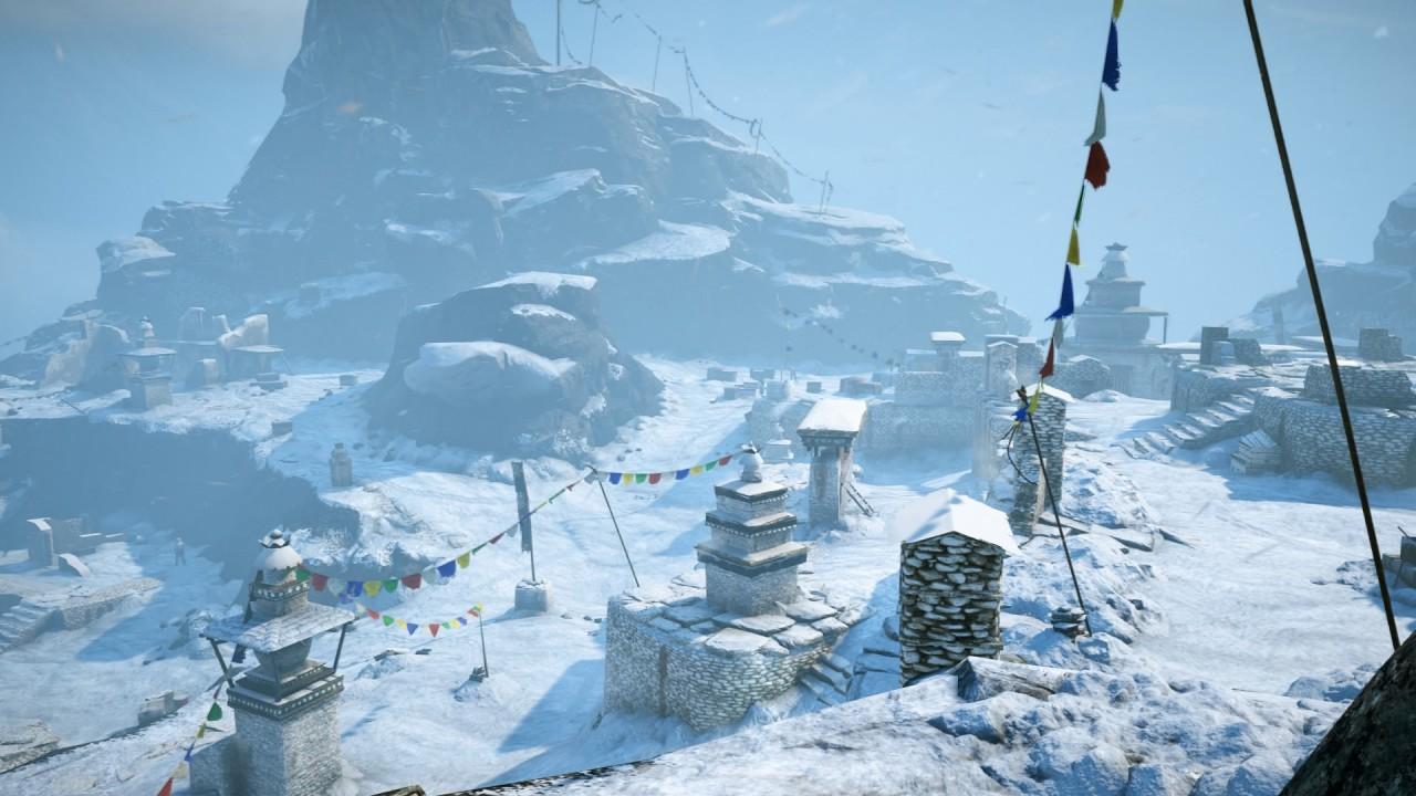Lugnet före stormen, någonstans i Himalayas berg.